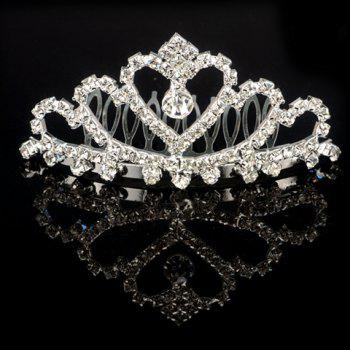 Graceful Rhinestoned Heart Crown Shape Water Drop Hair Comb For Women
