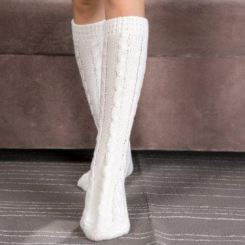 Pair of Chic Solid Color Hemp Flowers Women's Knitted Stockings -  WHITE
