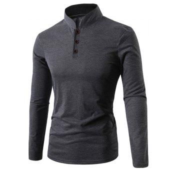 Stand Collar Solid Color Button Embellished Long Sleeve Men's T-Shirt