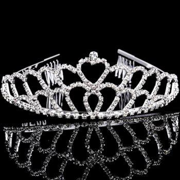 Chic Rhinestoned Heart Hollow Out Crown For Women - SILVER SILVER