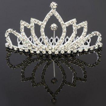 Stylish Hollow Out Rhinestoned Crown Shape Hair Comb For Women - SILVER SILVER