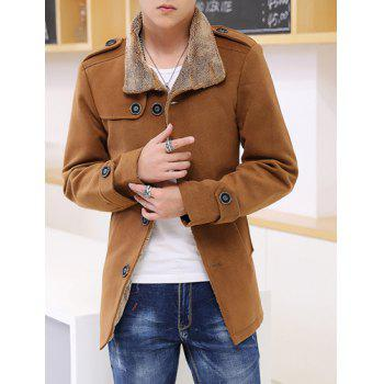 Multi-Button Epaulet Design Solid Color Fur Collar Long Sleeves Men's Woolen Blend Coat
