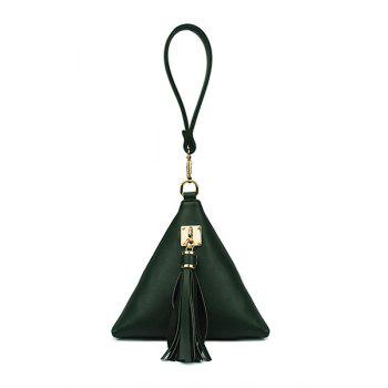Stylish Triangle Shape and Tassel Design Women's Clutch Bag -  GREEN