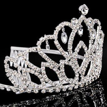 Chic Rhinestoned Faux Crystal Pendant Hollow Out Crown For Women - SILVER