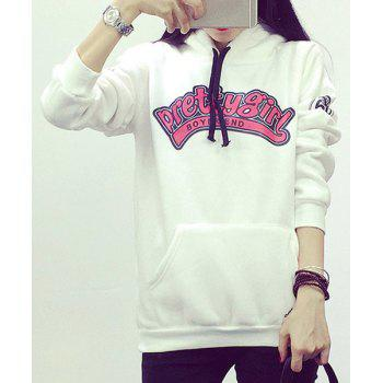 Casual Letter Pattern Hooded Flocking Long Sleeve Hoodie For Women