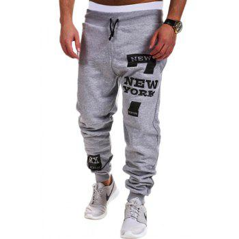 Letters and Number Print Lace-Up Beam Feet Men's Pants