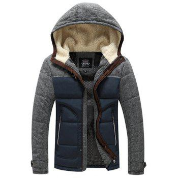 Men's Slimming Stand Collar Splicing Thicken Long Sleeve Zipper Cotton-Padded Coat