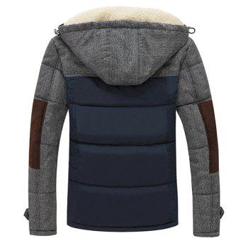 Men's Slimming Stand Collar Splicing Thicken Long Sleeve Zipper Cotton-Padded Coat - SAPPHIRE BLUE M