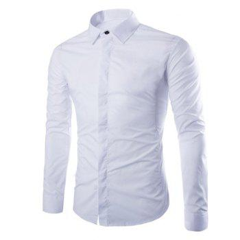 Simple Shirt Collar French Front Solid Color Slimming Long Sleeves Men's Thicken Shirt