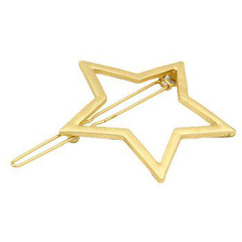 Faddish Solid Color Hollow Out Star Shape Hairgrip For Women - GOLDEN