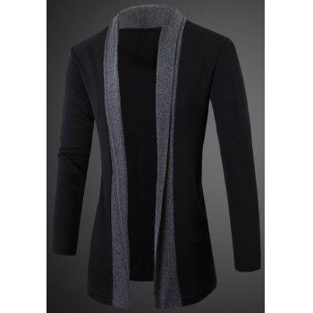 Elegant Turn-Down Collar Color Block Splicing Long Sleeve Men's Cardigan