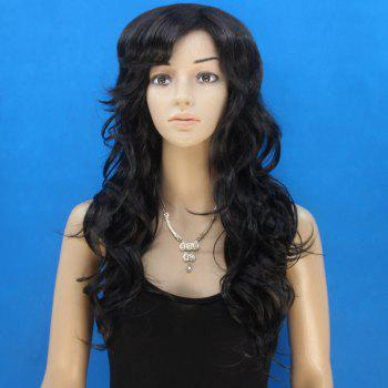 Fashion Black Long Elegant Side Bang Synthetic Fluffy Curly Capless Wig For Women - BLACK
