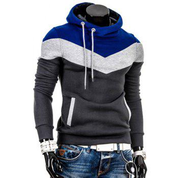 Hooded Drawstring Color Block Splicing Thicken Long Sleeve Men's Hoodie