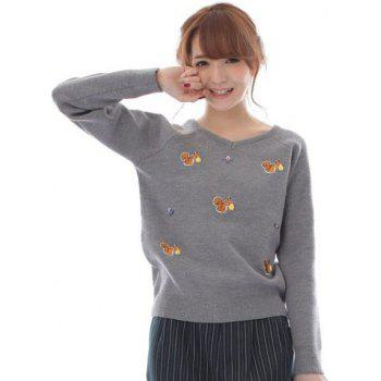 Graceful Long Sleeve V-Neck Cartoon Squirrel Pattern Women's Knitwear
