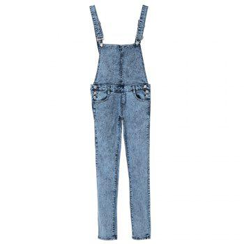 Stylish Women's Criss-Cross Bleach Wash Denim Overalls - BLUE S