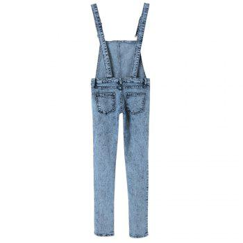 Stylish Women's Criss-Cross Bleach Wash Denim Overalls - S S