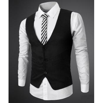 Simple Style V Neck Fake Belt Sleeveless Men's Waistcoat - BLACK XL