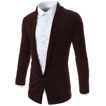 One Button Design Turn-Down Collar Long Sleeve Men's Cardigan