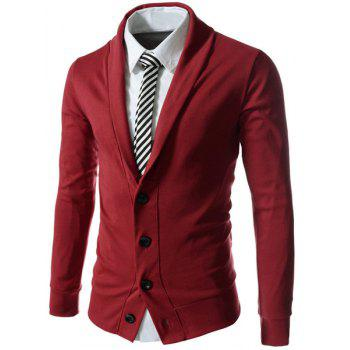 Single Breasted Turn-Down Collar Long Sleeve Solid Color Men's Cardigan