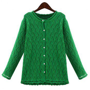 Stylish Women's Jewel Neck Long Sleeve Solid Color Wave Cardigan