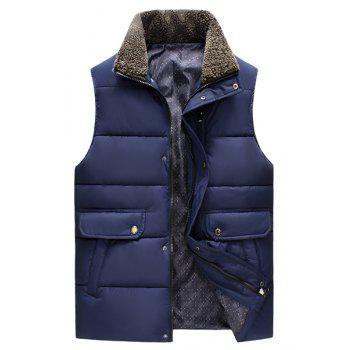 Pockets Design Fleece Turn-Down Collar Sleeveless Cotton-Padded Men's Waistcoat - DEEP BLUE DEEP BLUE