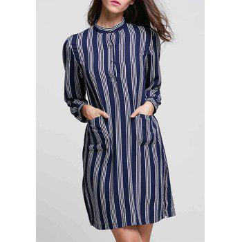 Chic Stand Collar Long Sleeve Vertical Striped Mini Dress For Women