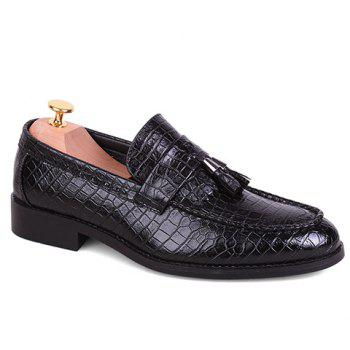 Stylish Crocodile Print and PU Leather Design Formal Shoes For Men