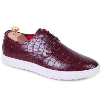 Fashion Crocodile Print and Lace-Up Design Casual Shoes For Men