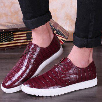 Fashion Crocodile Print and Lace-Up Design Casual Shoes For Men - 41 41