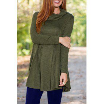 Trendy Long Sleeve Cowl Neck Pure Color Women's T-Shirt