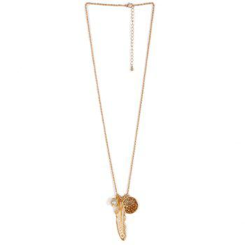 Faux Pearl Leaf Feather Sweater Chain