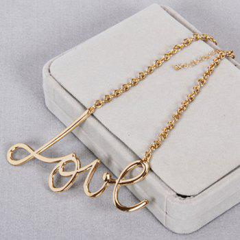 Chic Solid Color Letters Love Shape Necklace For Women - GOLDEN