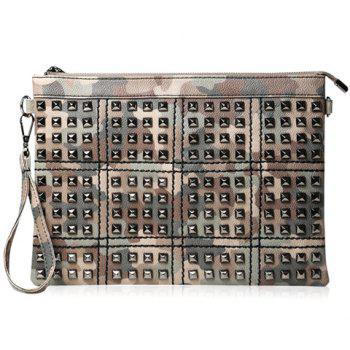 Vintage Rivets and Camouflage Design Clutch Bag For Men