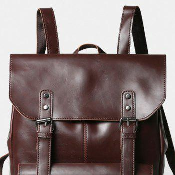 Retro PU Leather and Two Buckles Design Backpack For Men -  COFFEE