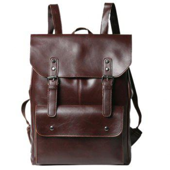Retro PU Leather and Two Buckles Design Backpack For Men - COFFEE COFFEE