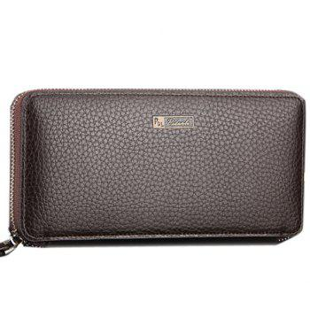 Casual Lichee Pattern and PU Leather Design Clutch Bag For Men - COFFEE COFFEE