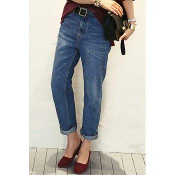 Casual Style Zipper Fly Solid Color Straight Leg Women's Jeans