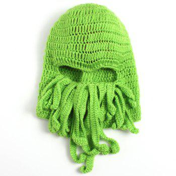 Stylish Solid Color Octopus Shape Knitted Beanie For Men - GREEN