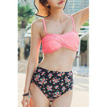 Chic High-Waisted Spaghetti Strap Floral Print Women's Bikini Set