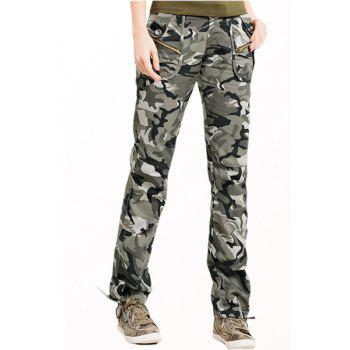 Stylish Zipper Embellished Pocket Design Women's Camouflage Pants