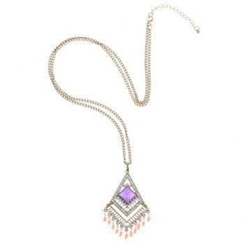Beads Tassel Geometrical Pendant Necklace - PURPLE