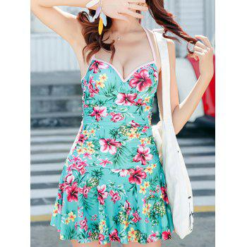 Cute Halter Floral Printed Back Hollow Out One-Piece Dress Swimwear For Women