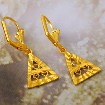 Pair of Hollow Out Triangle Drop Earrings - GOLDEN