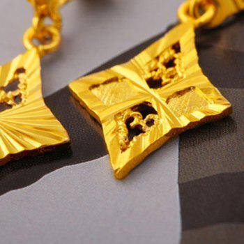 Pair of Hollow Out Rhombus Drop Earrings - GOLDEN