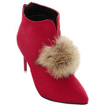 Elegant Faux Fur and Pointed Toe Design Ankle Boots For Women