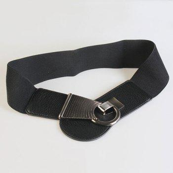Chic Alloy Hasp Solid Color Women's Elastic Waistband - BLACK