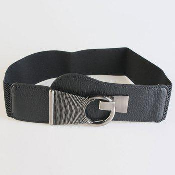 Chic Alloy Hasp Solid Color Women's Elastic Waistband