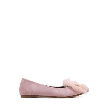Stylish Faux Fur and Metal Design Women's Flat Shoes - PINK 39