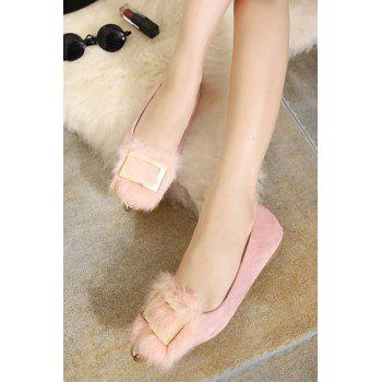 Stylish Faux Fur and Metal Design Women's Flat Shoes - 39 39