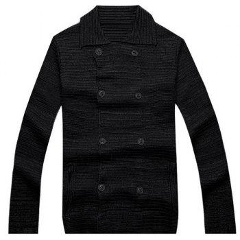Turn-Down Collar Solid Color Long Sleeve Men's Double Breasted Cardigan